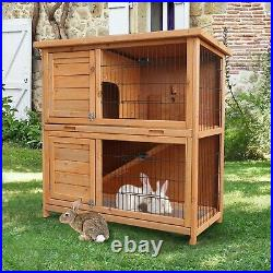 Wooden Rabbit Hutch Animal Pet Cage with Run Chicken Coop Hen House 2 Tiers