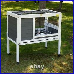 Wooden Rabbit Hutch Bunny Cage Guinea Pig House Moveable withWheels Indoor/Outdoor