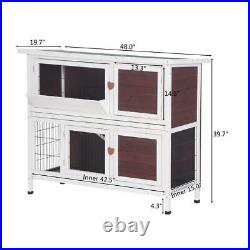 Wooden Rabbit Hutch Bunny Cage Hen House for Indoor Outdoor Yard with Run