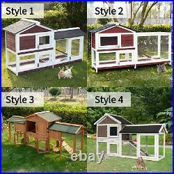 Wooden Rabbit Hutch Bunny Cage Small Animal Pet House Enclosure Backyard With Tray