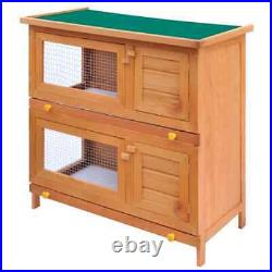 Wooden Rabbit Hutch Bunny Chicken Coop House Hen Backyard Small Animal Cage Tray