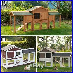 Wooden Rabbit Hutch Bunny Hen Poultry Cage Pet House With Run Ramp Ladder 3 Style