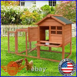 Wooden Rabbit Hutch Bunny House Large Chicken Coop Small Animal Cage Run Ramp