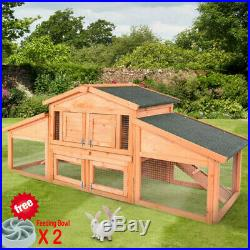 Wooden Rabbit Hutch Bunny House Small Animal Pet Cage With Backyard 2 Run Ramp