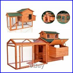 Wooden Rabbit Hutch Cage Chicken Coop Hen House Backyard Cage for Small Animals