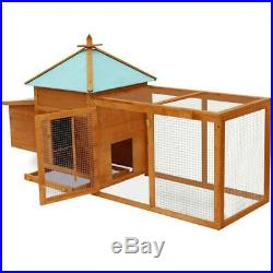 Wooden Rabbit Hutch Cage Chicken Coop Hen Small Pet Animal Poultry Cage Run