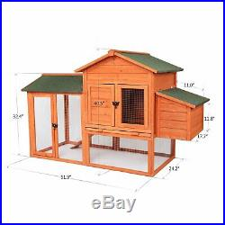Wooden Rabbit Hutch Cage Chicken Coop House Bunny Hen Pet Animal Natural Wood