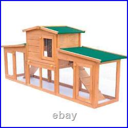Wooden Rabbit Hutch Cage Chicken Coop House Bunny Hen Pet Cage with 2 Runs Brown