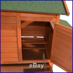 Wooden Rabbit Hutch Cage Chicken Coop Wheeled House Small Animal with Nesting Box