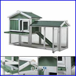 Wooden Rabbit Hutch Chicken Coop Cage House Outdoor Shelter Pet Habitat with Run