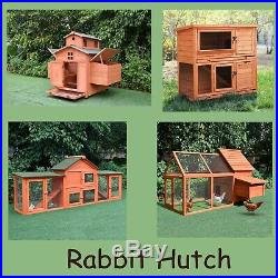 Wooden Rabbit Hutch Chicken Coop House Bunny Hen Pet With Run Cages 6 Size