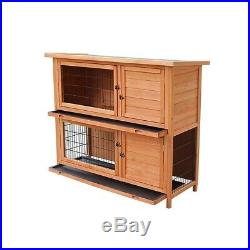 Wooden Rabbit Hutch Chicken House Tray Ladder Wood Pet Cage for Small Animals