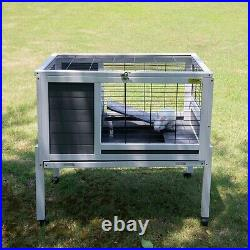 Wooden Rabbit Hutch Elevated Pet House Bunny with Slide-Out Tray Outdoor Natural