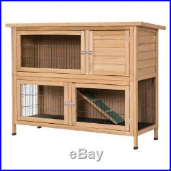 Wooden Rabbit Hutch Outdoor Backyard Chicken Coop Large 2 Story Bunny House Roof
