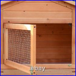 Wooden Rabbit Hutch Outdoor Cage Raised Enclosure with Run Spacious House Shelter