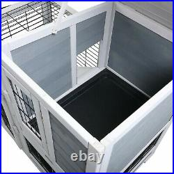 Wooden Rabbit Hutch Rolling Large Bunny Cage with Removable Small Animal House