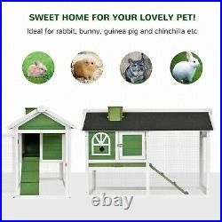 Wooden Rabbit Hutch Run Pet House Bunny Guinea Cottage Outdoor Waterproof Cage