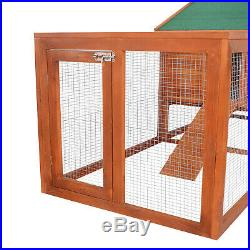 Wooden Rabbit Hutch w Ramp Chicken Guinea Pig Bunny Poultry Outdoor Shelter Cage