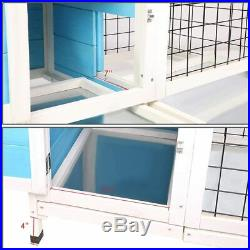 Wooden Small Animal Chicken Coop Rabbit Hutch Bunny House Gage with 2 Removable